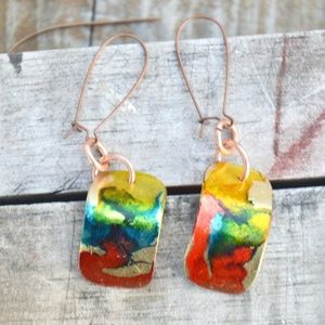 Colorful Rainbow Brass Long Drop Earrings Handmade